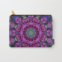 Floral finery - kaleidoscope of blue, plum, rose and green 1650 Carry-All Pouch