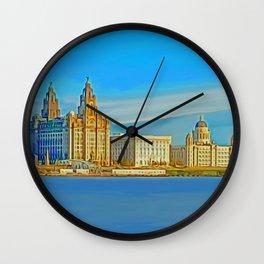 Liverpool 3 Graces (Digital Art) Wall Clock