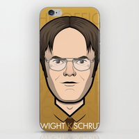 dwight schrute iPhone & iPod Skins featuring Dwight K Schrute - The Office by Mathieu Marcou
