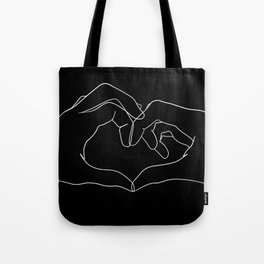 line art heart hands Tote Bag