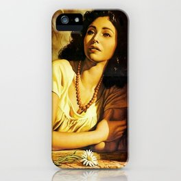 Mexican Calendar Girl at Window by Jesus Helguera iPhone Case