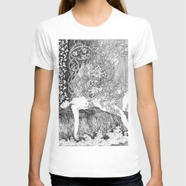 woman with burning roses T-shirt