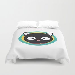 Black Cat with Green Circle Duvet Cover