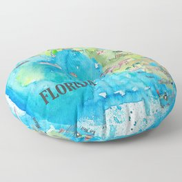 USA Florida State Fine Art Print Retro Vintage Map with Touristic Highlights Floor Pillow