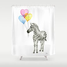 Zebra Watercolor With Heart Shaped Balloons Whimsical Baby Animals Shower Curtain