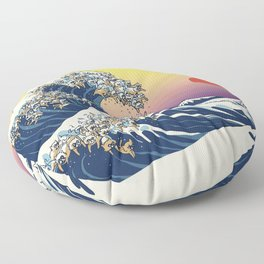 The Great Wave Of  Cat Floor Pillow