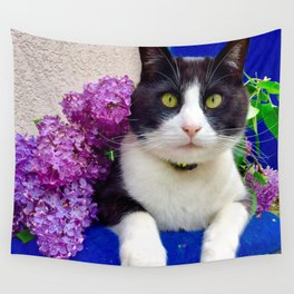 Orazio charming cat in the blue Wall Tapestry
