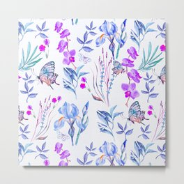 Modern purple blue watercolor hand painted orquid butterfly Metal Print