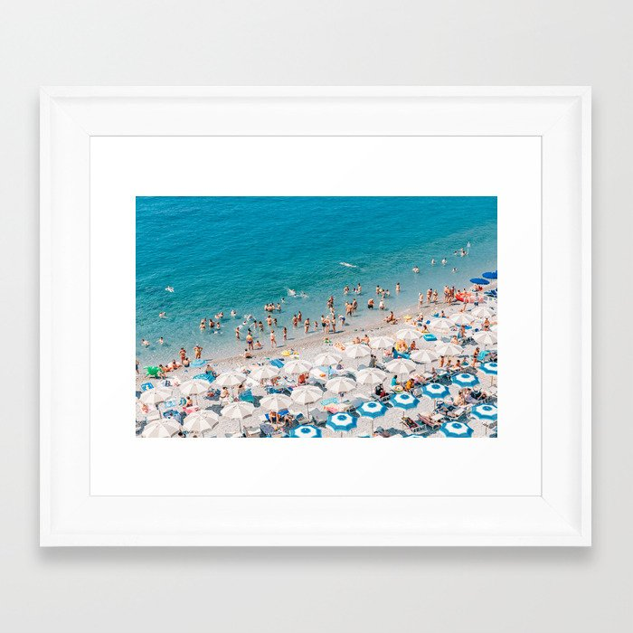 Amalfi Coast Beach Aerial Framed Art Print