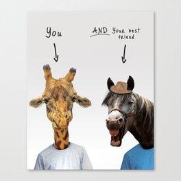 Funny giraffe and horse Canvas Print