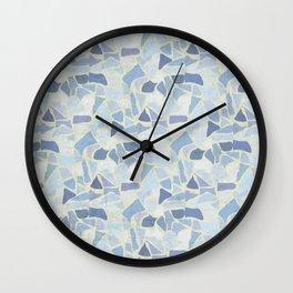 Terrazzo pattern blues palette Wall Clock