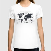 gray T-shirts featuring The World Map by Mike Koubou
