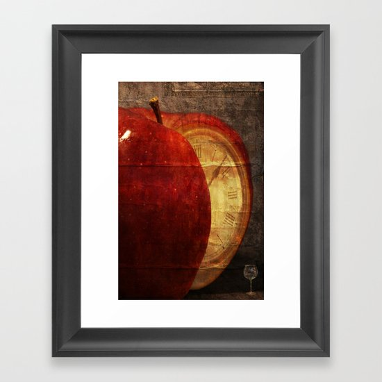 Mysterious relationship of apple and time Framed Art Print