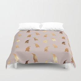 Elegant girly gold pink modern penguins Duvet Cover