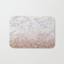 Bold ombre rose gold glitter - white marble Bath Mat