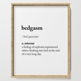 Bedgasm black and white contemporary minimalism typography design home wall decor bedroom Serving Tray