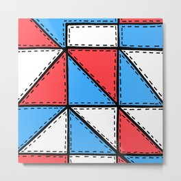 Marker Patchwork – Triangles and Rectangles – Red Blue White Metal Print