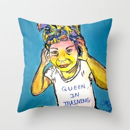 Black Queen in Training Throw Pillow