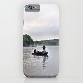 Misty Morning Fishing on the Lake iPhone Case