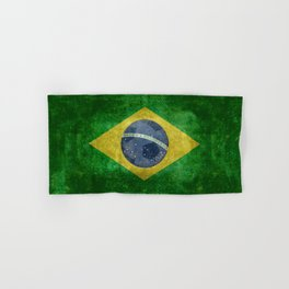Flag of Brazil with football (soccer ball) retro style Hand & Bath Towel