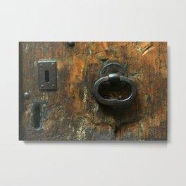 Old Wooden Door with Keyholes Metal Print