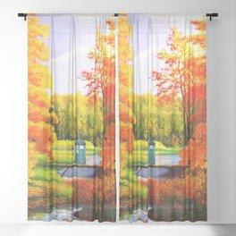 Tardis Art Bridge Forest Autumn Sheer Curtain