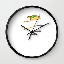 Cute & Funny Peace Love Tacos for Taco Lovers Wall Clock