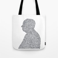 hitchcock Tote Bags featuring Hitchcock by S. L. Fina