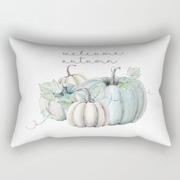 welcome autumn blue pumpkin Rectangular Pillow