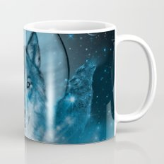wolf in blue Mug
