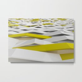 White matte plastic waves with Yellow elements Metal Print
