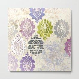Aimee Damask Pattern Metal Print