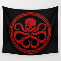 hydra Wall Tapestries featuring Hail Hydra! by livinginamovie