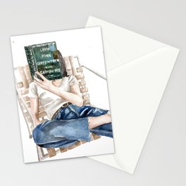 Woman reading book \ New York Times bestseller Little Fires Everywhere by Celeste Ng Stationery Cards