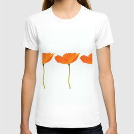 Three Orange Poppy Flowers White Background  T-shirt