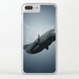 Whale Dream - Deep Sea Animal Illustration Clear iPhone Case