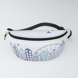 Dutch canal houses from Amsterdam in delft blue Fanny Pack