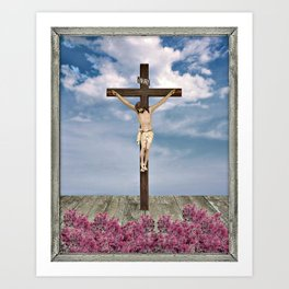 Jesus on the Cross Illustration Art Print