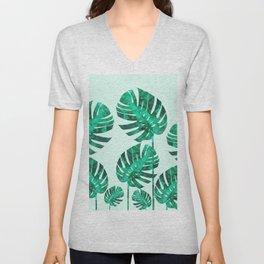 Composition tropical leaves XIX Unisex V-Neck