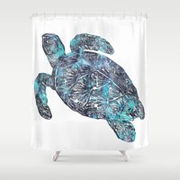 sea turtle Shower Curtains featuring Sea Turtle by LebensART