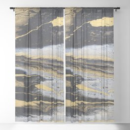 Gold marble Sheer Curtain
