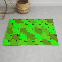 Fluttering mosaic of green intersecting squares and dark blocks. Rug