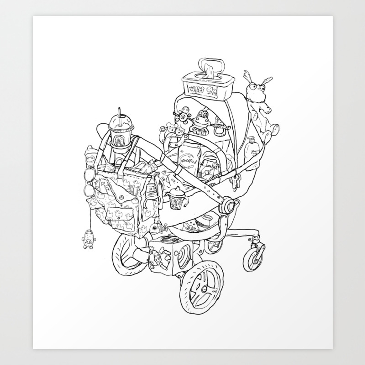 - Coloring For Real Grownups. Stroller Art Print By Stacyinnerst