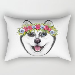 Husky with flowers Rectangular Pillow