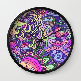 Doodle Florals Wall Clock