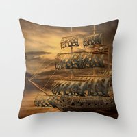 pirate ship Throw Pillows featuring Pirate Ship by FantasyArtDesigns