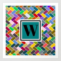 monogram Art Prints featuring W Monogram by mailboxdisco