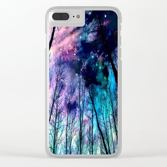 Black Trees Colorful SpacE Clear iPhone Case