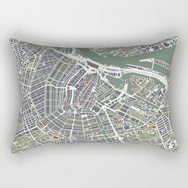 Amsterdam city map engraving Rectangular Pillow