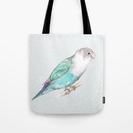 Pale blue lovebird Tote Bag